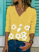 Yellow Long Sleeve V Neck Shirts & Tops