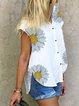 White V Neck Short Sleeve Shirts & Tops