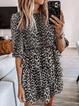 Leopard Crew Neck Half Sleeve Dresses