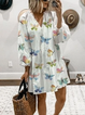 White Cotton Long Sleeve Printed Dresses