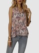 Pink Ethnic V Neck Floral-Print Sleeveless Holiday Shirts & Tops