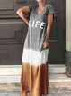 Letter Printed Colo-block V-neck Short Sleeve Maxi Dress