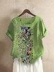 Green Casual Polka Dots Cotton-Blend Shirts & Tops
