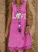 V Neck Casual Sleeveless Cotton-Blend Dresses