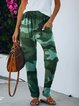 Camouflage Green Casual Stretchy Pockets Pants