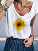 Cotton-Blend Casual Floral Round Neck Shirts & Tops
