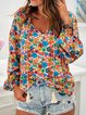 Multicolor Long Sleeve Floral-Print Shirts & Tops