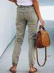 Green Gray Drawstring Patchwork Casual Pants