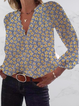 Long Sleeve V Neck Floral Shirts & Tops
