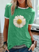Printed Cotton-Blend Short Sleeve Casual Shirts & Tops