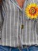 Gray Casual Striped V Neck Tops