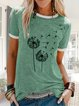 Casual printed cotton and linen loose top