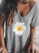 Casual Floral-print Short Sleeve Crew Neck Shirts & Tops