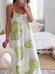 White Printed Cotton Patchwork Holiday Dresses