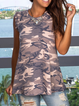 Gray Crew Neck Sleeveless Casual Floral-Print Vests