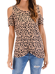 Floral-Print Short Sleeve Crew Neck Cotton Shirts & Tops