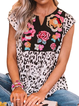 Leopard Sleeveless Floral-Print Shirts & Tops