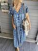 Printed Short Sleeve V Neck Casual Dresses