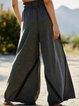 Gray Casual Plain Wide -leg Pants