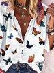 White Daily Casual Butterfly Printed Shift Cartoon Shirt Collar Shift Shirts & Tops
