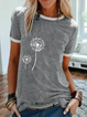 Casual Printed Crew Neck Short Sleeve Shirts & Tops