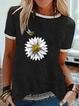 Cotton-Blend Floral-Print Short Sleeve Crew Neck Shirts & Tops