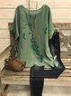 Plus Size Casual Crew Neck Cotton-Blend Shirts & Tops