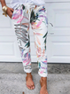 Plus size Leaves Printed Casual Pants