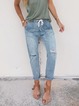 Plus size Vintage Solid Ripped Jeans