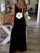 Black Printed Sleeveless Patchwork V Neck Dresses