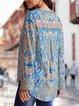 Floral Ethnic V Neck Long Sleeve Bouse