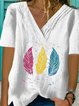 White Casual V Neck Cotton Printed Shirts & Tops
