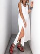 White Sleeveless Crew Neck Slit Maxi Dresses