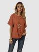 Orange Casual Shift Cotton-Blend Shirts & Tops