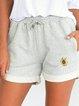 Cotton-Blend Floral Casual Pants