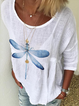 White Floral-Print Short Sleeve Linen Crew Neck Shirts & Tops