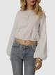 White Crew Neck Shift Casual Shirts & Tops