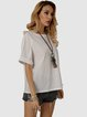 White Cotton-Blend Crew Neck Casual Shirts & Tops