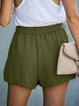 Green Vintage Shift Pockets Solid Pants With Belt