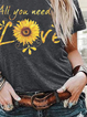 Gray Floral-Print Crew Neck Short Sleeve Casual Shirts & Tops
