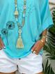 Lake Blue V Neck Half Sleeve Shirts & Tops