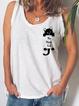 White Sleeveless Cotton Floral-Print Vests