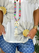 White Cotton Short Sleeve Floral-Print V Neck Shirts & Tops