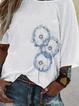 White Scoop Neckline Half Sleeve Floral-Print Cotton Shirts & Tops
