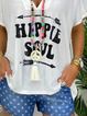 White Holiday Floral-Print V Neck Cotton Shirts & Tops