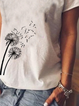 White Floral-Print V Neck Casual Cotton Shirts & Tops