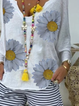 White Cotton Floral-Print Casual V Neck Shirts & Tops