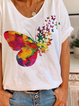 White Floral-Print Holiday V Neck Short Sleeve Shirts & Tops