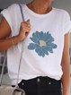 White Round Neck Short Sleeve Simple Shirts & Tops
