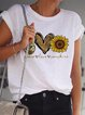 White Short Sleeve Casual Round Neck Shirts & Tops